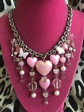Tarina Tarantino KISS ME Pink Lucite Puffy Heart Candy Valentine LOVE Necklace
