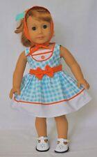 Doll Clothes Dress Blue Orange Gingham Mary Ellen 1954 Fits American Girl Dolls