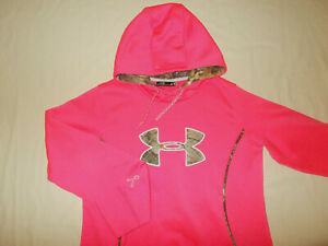 UNDER ARMOUR BREAST CANCER AWARENESS PINK HOODED SWEATSHIRT WOMENS LARGE EXCELL