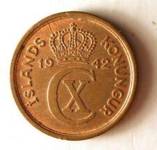 1942 ICELAND EYRIR - AU/UNC - High Quality Low Mintage Coin - Lot #Y5