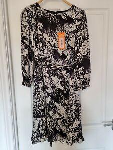 Karen milen Black White silk Dress 14