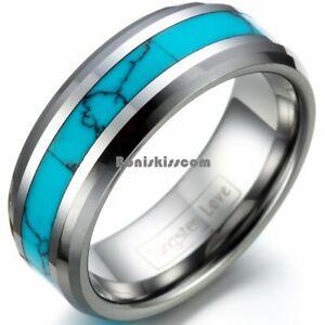 Tungsten Carbide Ring Manmade Turquoise Men's Women's Engagement Wedding Band