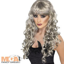 Silver Siren Wig Halloween Fancy Dress Ladies Vampire Witch Skeleton Costume Acc