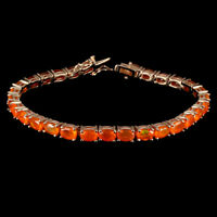 Oval Orange Fire Opal 6x4mm 14K Rose Gold Plate 925 Sterling Silver Bracelet