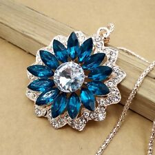 Gold-plated Mosaic crystal Blue sun chain Fashion charm long necklace DL454
