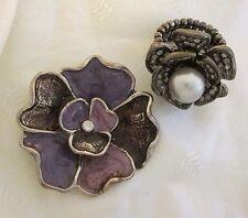 Purple Enamel Pendant Rhinestone Imitation Pearl Stretch Costume Ring Flower Lot