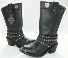 womens harley davidson leather boots 7 black April D87047 zip studs studded mid