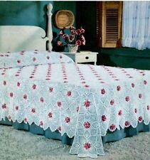 Vintage Crochet Pattern to Make Crochet Bedspread ~ 1950's ~Rose & Pineapple