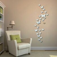3D Mirrors Butterfly Wall Stickers DIY Removable Art Decals Home Mural Decor