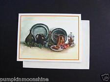 #E869- Unused Tasha Tudor Xmas Greeting Card Kitchen Dishes Still Life