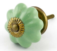 Green Ceramic Knobs, Cabinet Drawer Pulls or Kitchen Cupboard Handle #K82~ Set/4
