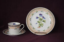 Georges Briard 3 pc place setting cup saucer salad plate Bird's Foot Violet mint