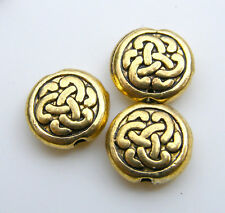 50pcs 9.5x3mm Metal Alloy Flat Round Coin Spacers - Antique Gold