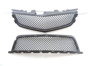 MATTE BLACK FRONT UPPER/LOWER GRILLE COMBO For 09~10~11~12~13~14 CADILLAC CTS-V
