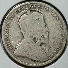 1909 Canada Quarter .925 Silver Coin King Edward VII KM#11a Last Year Issue D