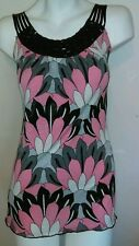 Charlotte Russe Top S Pink Black Beaded Sparkle Stretch Knit Tank Shirt Blouse