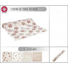 1 CHEMIN DE TABLE 2 M X 36 CM BLANC ET ROUGE PAILLETE DECORATION NOEL