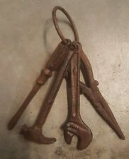 Set of 4 Cast Iron Tools on a Ring rustic brown finish home garden decor