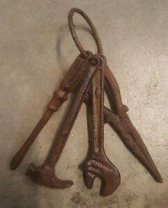 Set of 4 Cast Iron Tools on a Ring rustic brown finish home garden décor