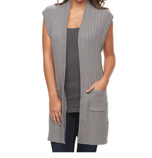 Women Croft & Barrow Gray Ribbed Open Front Cardigan Sweater Long Size Large NWT