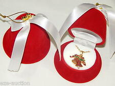Free Red Velvet Bell Gft Box Christmas Bells W. Rhinestone Necklace With