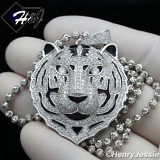"""925 STERLING SILVER 20""""24""""30""""X3MM GOLD/SILVER MOON BEAD CHAIN TIGER PENDANT*P182"""