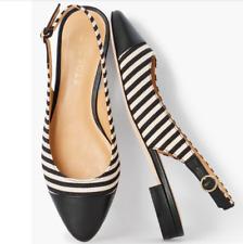TALBOTS Ladies Shoes 8 1/2M Black Edison Slingback - Corded Stripe