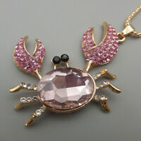 Women's Pink/Blue Crystal Cute Crab Pendant Betsey Johnson Long Necklace