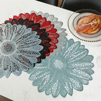 Set of 4 Placemat PVC Flower Lace Dining Table Place Mat Insulated Pad Non Slip