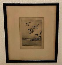 Original Roland Clark Pencil Signed Sporting Art Etching - Canvasbacks in Flight
