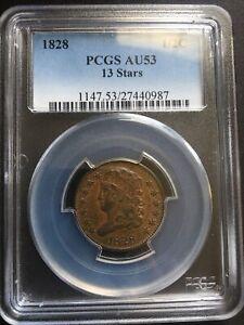PCGS AU53 1828 1/2cent