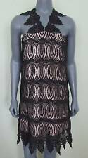 KARLIE Ladies LBD Black Cocktail Dress Great Gatsby Sheath Scalloped Lace M NWT