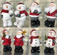 Santa Claus or Snowman Ceramic Christmas Ornaments ~ Set of 2 7296   | 4 Designs