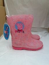 "OFFICIAL ""PEPPA PIG""  GIRL'S PINK HEART WELLIES INFANT SIZE EU 28/UK 10"