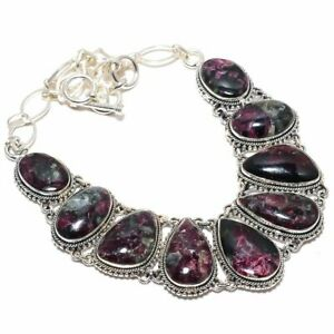 """Eudialyte Gemstone 925 Sterling  Silver Necklace 18"""""""