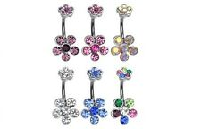 6 lot Double Gemmed Flower BELLY Button NAVEL Bar RING Body Piercing Jewelry