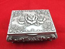EXQUISITE CHINESE TIBET SILVER DECORATION CARVING ROSE JEWELRY BOX