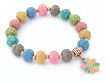 NEW JILZARA Handmade Clay 8mm Beads GYPSY SOUL BLUE GREEN  BOHO FLOWER Bracelet