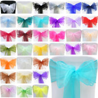 10pcs Organza Sashes Chair Cover Bow Sash WIDER FULLER BOWS Wedding Party Decor