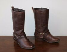 Brown Look Leather ATMOSPHERE Pull On Biker Mid Calf Mid Heel Boots Size 5 / 38