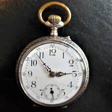 """HERREN TASCHENUHR, Silber-0,800, """"Cylindre, 10 rubis"""", gute Funktion, ca. 1905"""