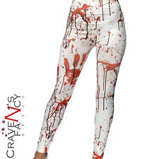 White Blood Stained Horror Leggings Halloween Zombie Fancy Dress Costume New