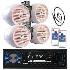 "2 LED 6.5"" White Tower Speaker Sets, Bluetooth AM FM USB Pyle AUX Radio, Antenna"