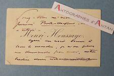 CDV autographe Henri HOUSSAYE Ancien directeur HAVAS Trajet Paris Honfleur Lebey