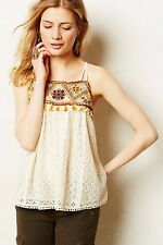 NWT ANTHROPOLOGIE HD in Paris Tikal Lace Top w Tassel & Embroidery Size 12 $138