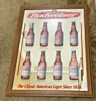 Vintage '98 Budweiser Classic American Lager Beer Mirror Sign 1876 Hard_8s_Magic