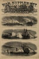 Naval Fight Burning Steamer Submarine on Mississippi R 1862 Civil War old print