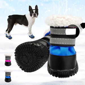 Waterproof Pet Dog Boots Non-Slip Shoes Reflective Warm Cotton Snow Booties #3-5
