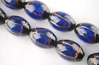 5pcs 22x13mm Oval Gold Foil Lampwork Czech Glass Charms Loose Beads Royal Blue