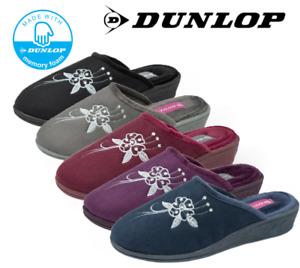 Ladies Dunlop Slip On Comfort Memory Foam Closed Toe Wedge Mule Slippers